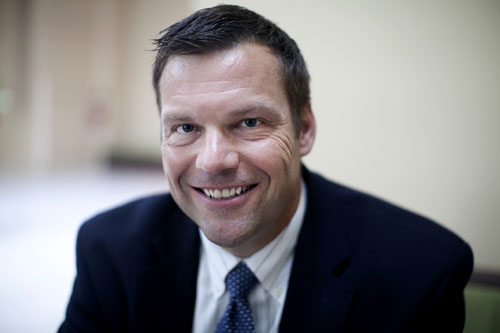 Kansas Secretary of State Kris Kobach is a national leader in the effort to enact strict voter registration requirements. He has has used his office to endorse statewide and federal GOP candidates, but is best known for writing S.B. 1070, the controversial Arizona immigration law. Photo by Lizzie Chen/News21